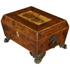 Regency Period Early 19th Century Burr Yew Painted Sewing Casket