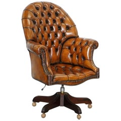 Restored 1960s Chesterfield Whisky Brown Leather Directors Captains Chair