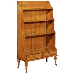 George III 18th Century West Indian Satinwood Waterfall Bookcase