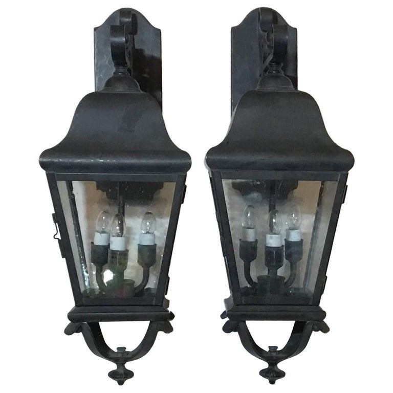 Pair of Handcrafted Brass Wall Lantern