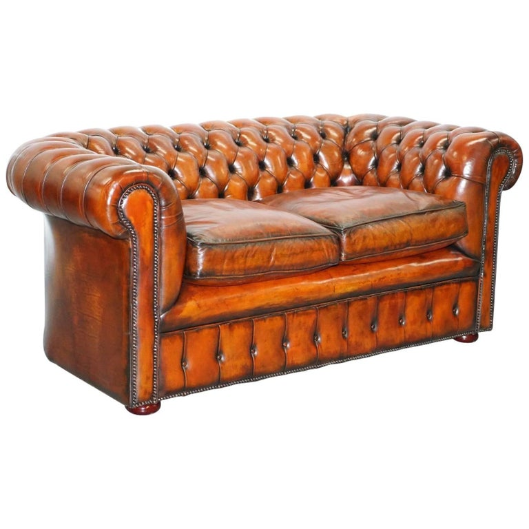 1930s Made in England Restored Hand Dyed Chesterfield Club Sofa Feather Filled