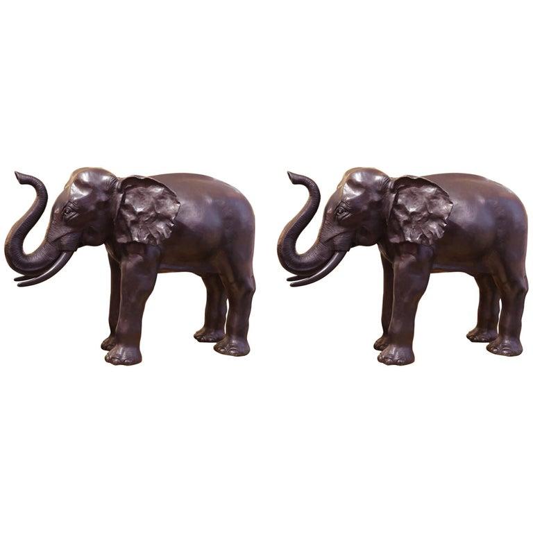 Elephants Set of Two Sculptures in Solid Bronze