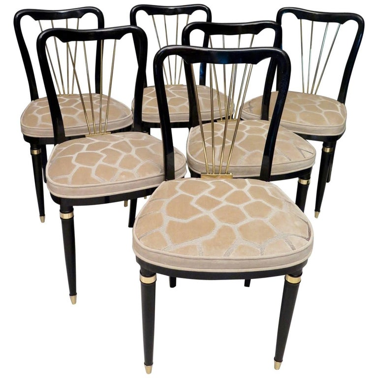 1920 Brass Velvet and Black Wood France Six Dining Chairs