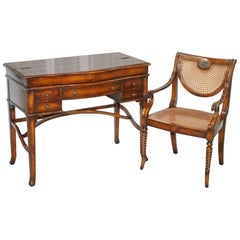 Lovely Theodore Alexander Campaign Fold Out Desk Writing Table and Chair