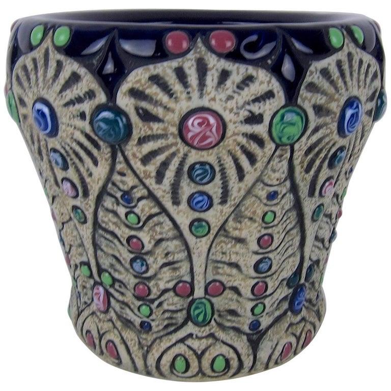 Jeweled Art Nouveau Amphora Pottery Cachepot or Jardinière