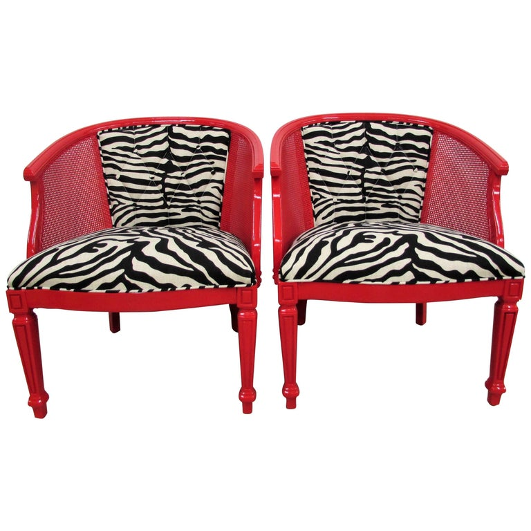 Pair of Baker-Style Barrel Back Cane and Lacquered Chairs