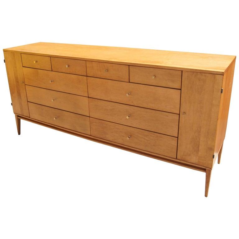Planner Group 20-Drawer Maple Dresser by Paul Mccobb