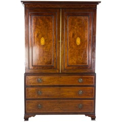 Mahogany Linen Press, Antique Armoire, Chest of Drawers, Scotland, 1790, B996
