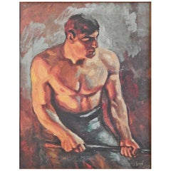 """Ironworker,"" Important WPA-Era Depiction of Industrial Worker by John Garth"