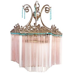 Art Nouveau and Art Deco with Blue Beads and Pink Glass Straws Chandelier