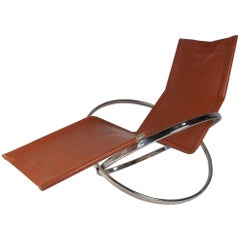 Midcentury Italian Folding Chaise Lounge Rocker