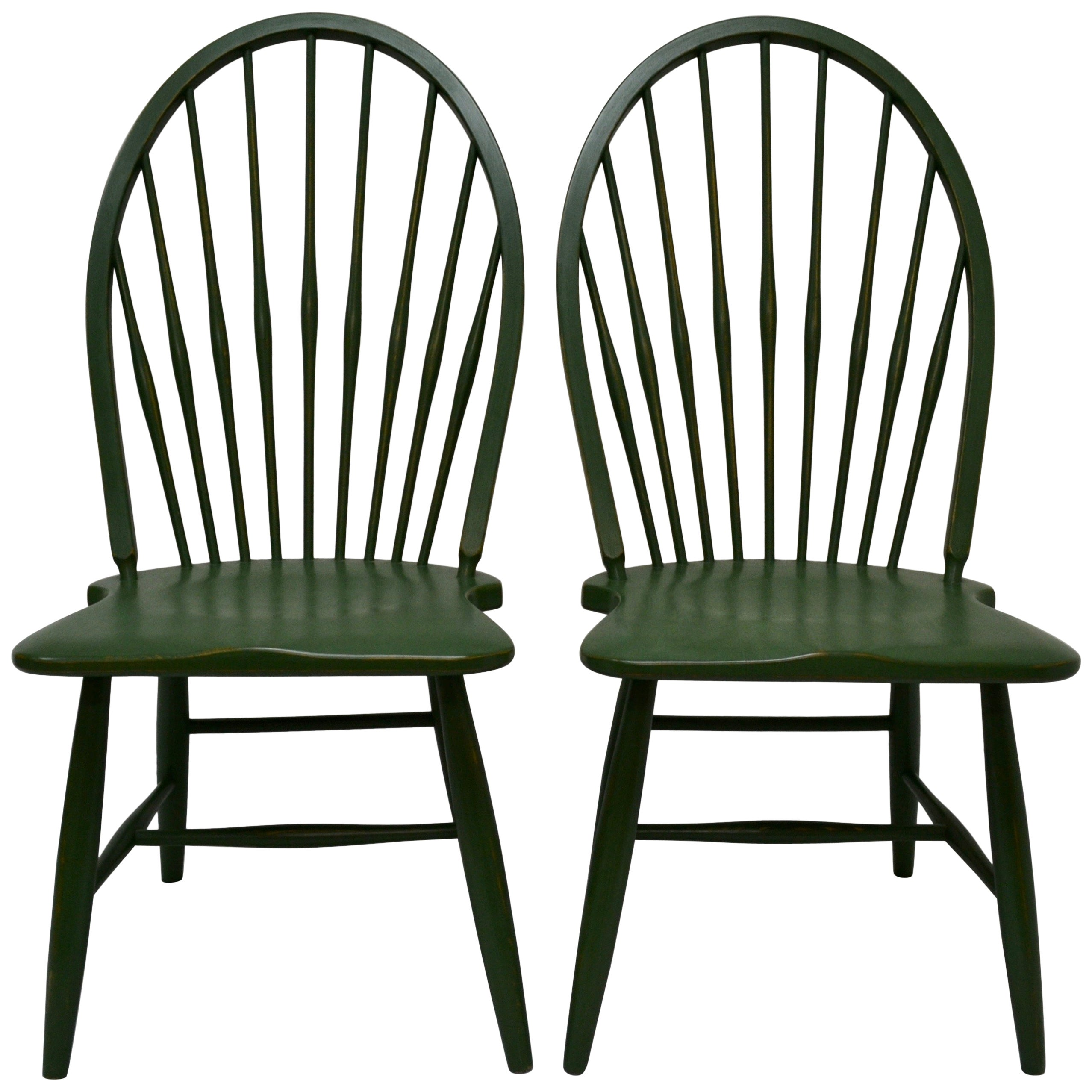 Pair of beechwood hoopback windsor side chairs for sale at 1stdibs