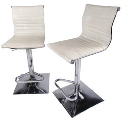 Pair of Vintage Modern Swivel Seat Barstools