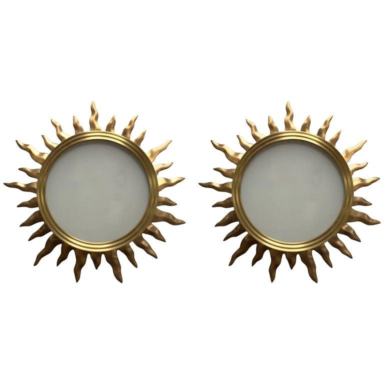 Fine Mid-Century Modern French Bronze Star Sun Glass Flush Mount Fixtures, Pair