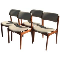 Set of Four Danish Modern Erik Buch Teak Chairs