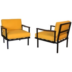 Pair of Dutch Modernist Lounge Chairs with Teak Armrest, 1950s