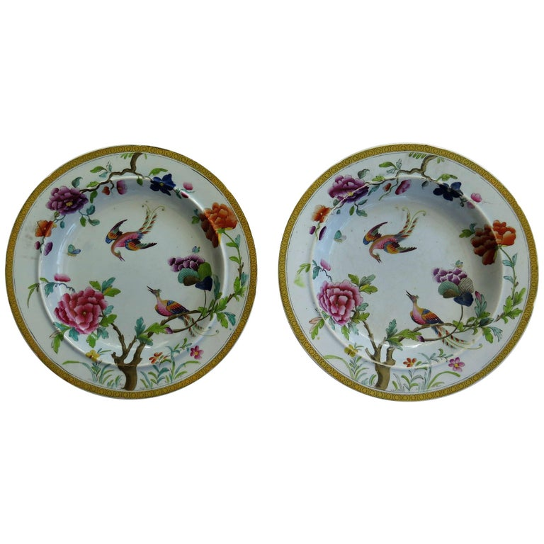 Rare Pair of Stephen Folch Ironstone Soup Plates, Oriental Pheasants, circa 1825