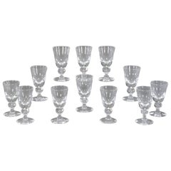 Set of 14 Steuben Handblown Crystal Baluster Water Goblets #7877, circa 1940s