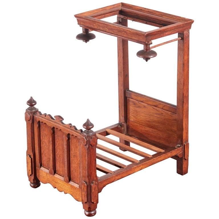 Unusual Antique Victorian Miniature Oak Half Tester Bed