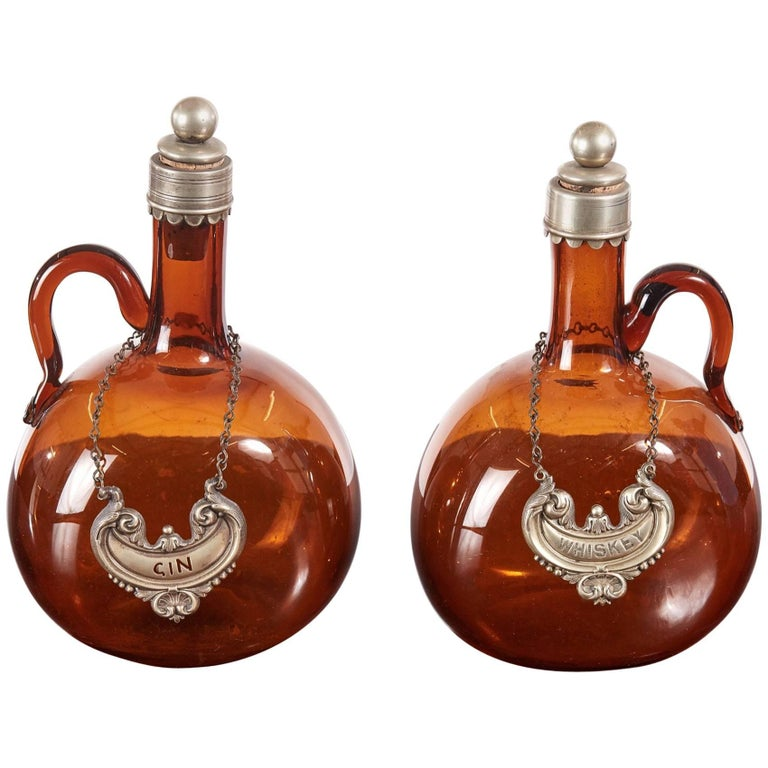 Pair of Victorian Brown Glass Decanters