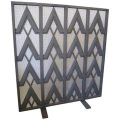 Art Deco Style Geometric Motif Iron Fire Screen
