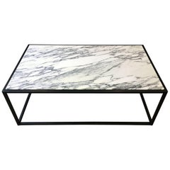 Patinated Steel and Arabescato Marble Coffee Table