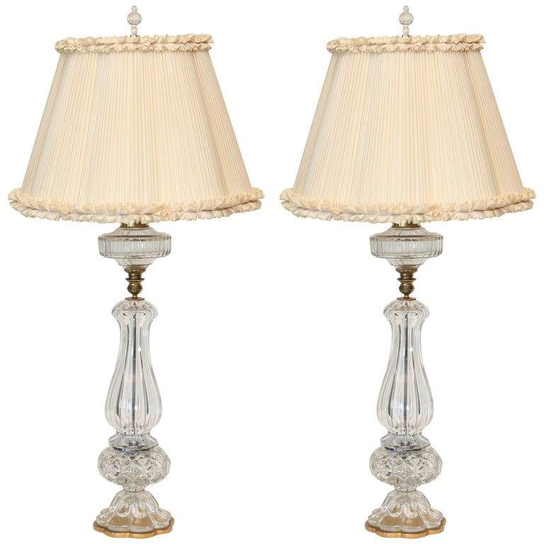 Tall Pair of Austrian Cut-Glass and Brass Oil Lamps