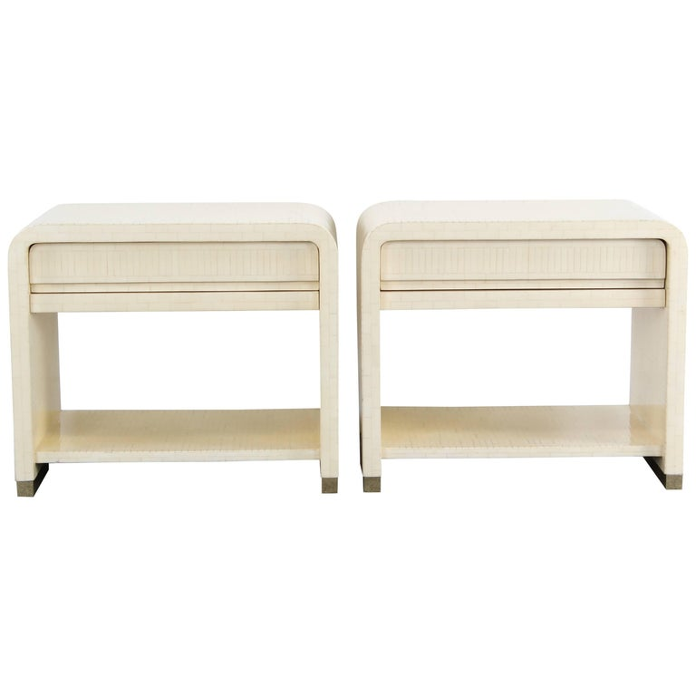 Pair of Enrique Garcel Tessellated Bone Bedside Tables, 1988