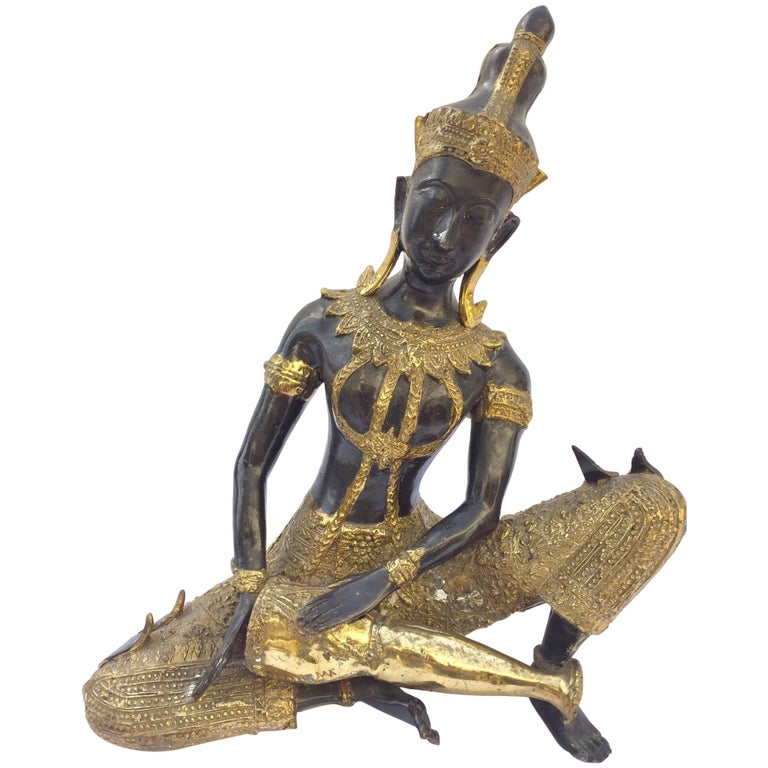 Asian Bronze Statue of a Thai Prince Playing Drum