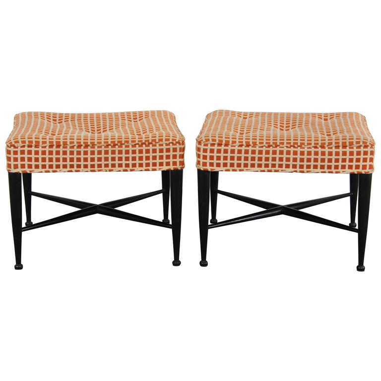 Pair of Edward Wormley X-Base Benches, 1950s