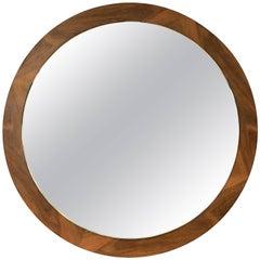English Round Mirror of Teak
