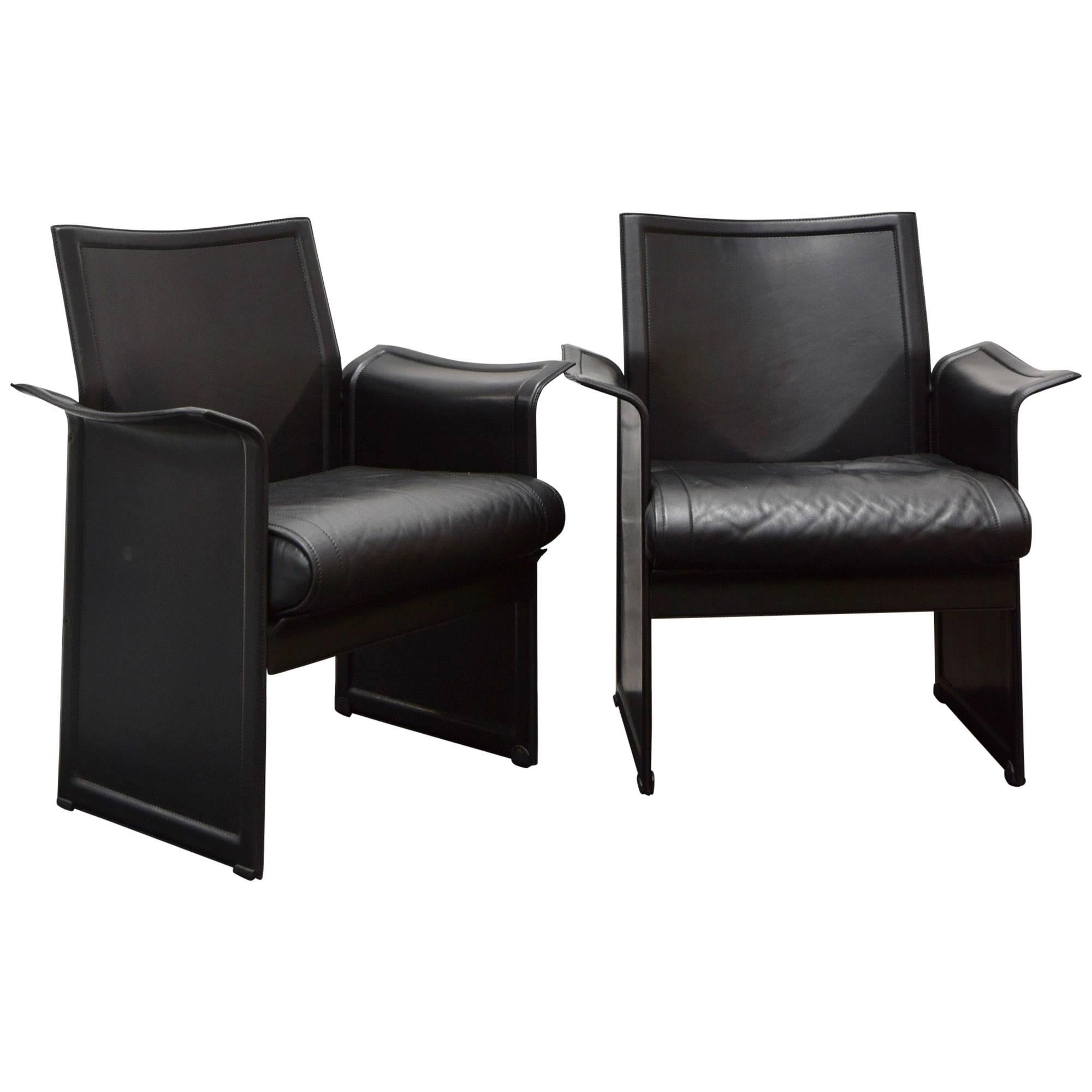 Good Pair Of Vintage Korium Leather Chairs By Tito Agnoli For Matteo Grassi, In  Black