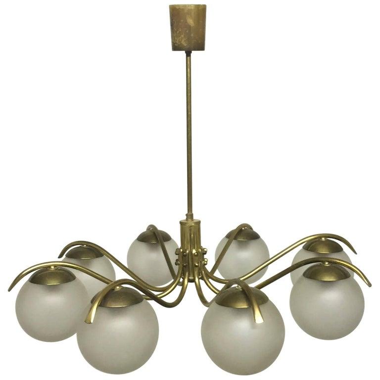 Large Mid - Century Brass and Glass Blobes Sputnik Chandelier, circa 1960s