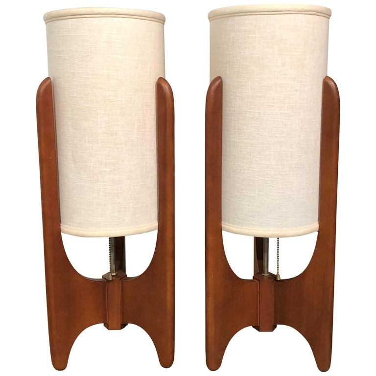 Pair of Mid-Century Modern Sculpted Walnut Table Lamps by Modeline