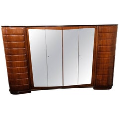Vittorio Dassi Moderne Itallion Large Custom Art Deco Armoire Six Doors