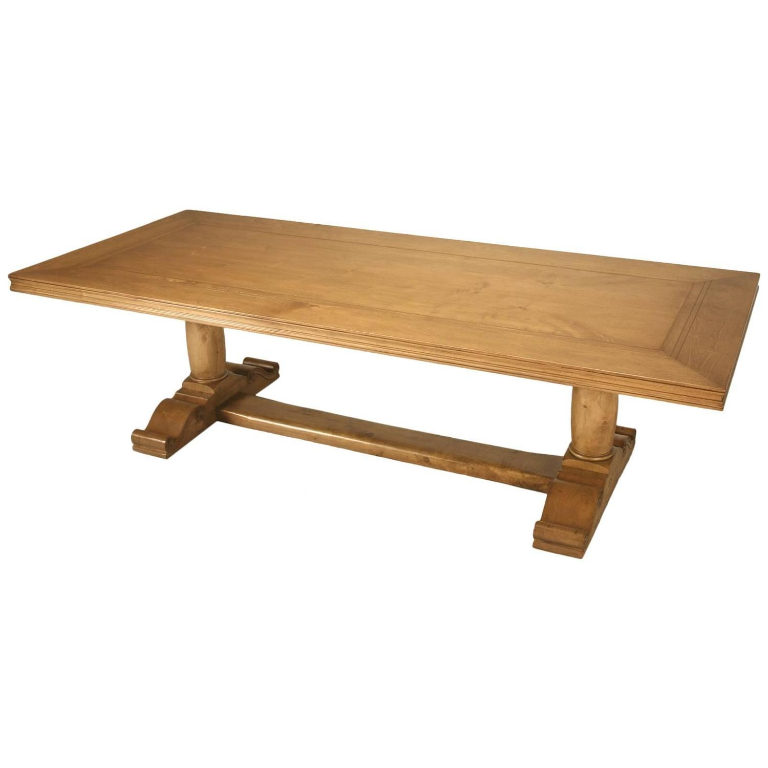 Custom handmade french walnut trestle dining table at 1stdibs for Dining room tables handmade