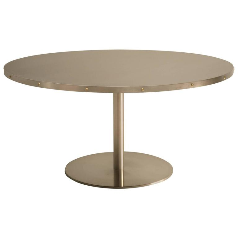 custom 60 stainless steel dining table at 1stdibs