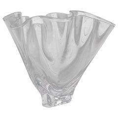 Steuben Crystal Freeform Art Glass Handkerchief Vase, Signed, 20th Century
