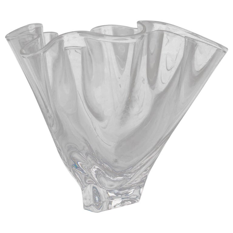 Steuben Crystal Freeform Art Glass Handkerchief Vase Signed 20th