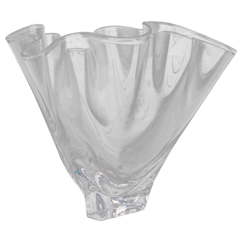 258c6bf0082 Steuben Crystal Freeform Art Glass Handkerchief Vase