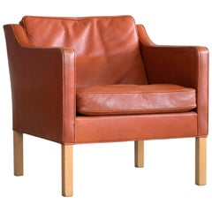 Børge Mogensen Lounge Chair Model 2421 in Down Filled Cognac Colored Leather
