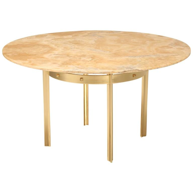 Custom Built Dining Room Tables: Custom Made Modern Brass And Onyx Dining Table At 1stdibs