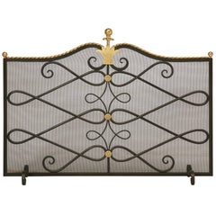 Custom Steel and Brass Fireplace Screen and Mesh