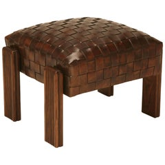 Chic and Unique Vintage French Handwoven Leather Ottoman