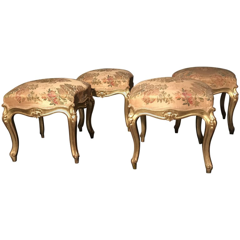 Rare Set of Four Giltwood Stools, Italy, 19th Century