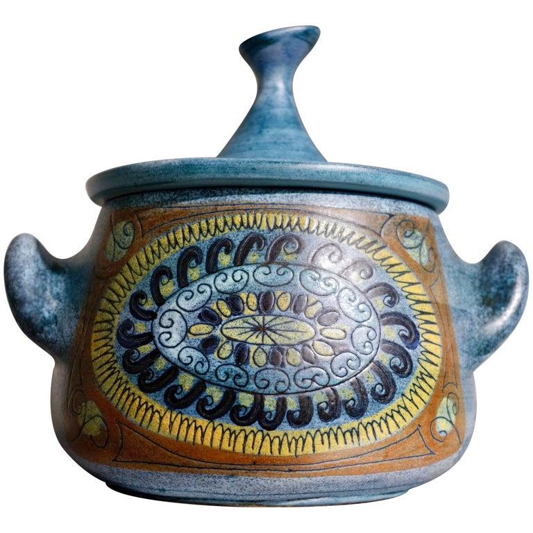 Jean de Lespinasse Blue Glazed Ceramic Tureen Vallauris JdL n°1, circa 1950-1960