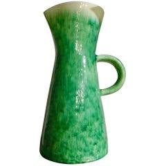 Accolay Pottery, France, Big Green Ceramic Pitcher Vase, circa 1950-1960
