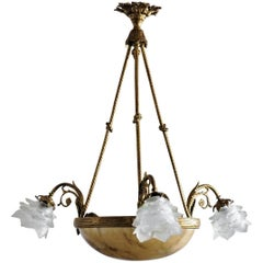 Large Gilt Bronze Alabaster Six-Light Chandelier