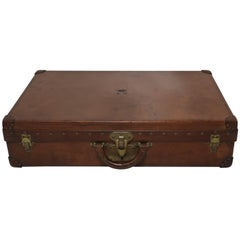Antique Louis Vuitton Royal Leather Case Trunk with Original Cover and Crown