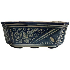 Octagonal Mexican Blue and White Talavera Ceramic Planter Jardiniere Cachepot